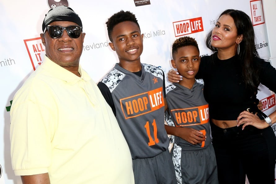Stevie Wonder, sons Kailand Morris and Mandla Morris, and designer Kai Milla attend the 4th Annual Kailand Obasi Hoop-Life Fundraiser at USC