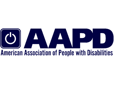 AAPD logo that says american association of people with disabilities