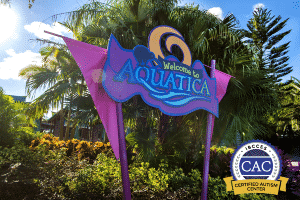 Aquatica sign outside of the park pointing where to go