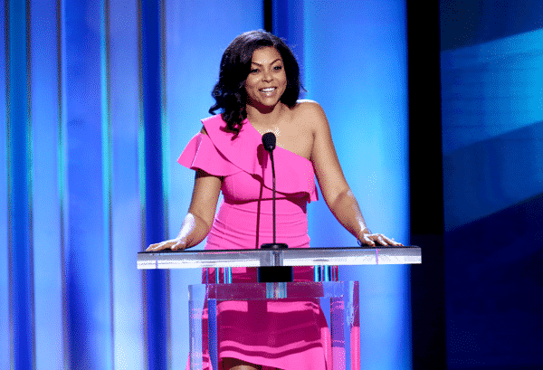 Taraji P. Henson in pink dress speaks onstage at the 2019 Film Independent Spirit Awards