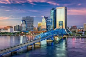 picture of Jacksonville Florida's downtown , bridge and waterfront