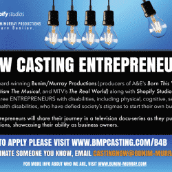 Flyer announcing the casting call for entrepreneurs with disabilities