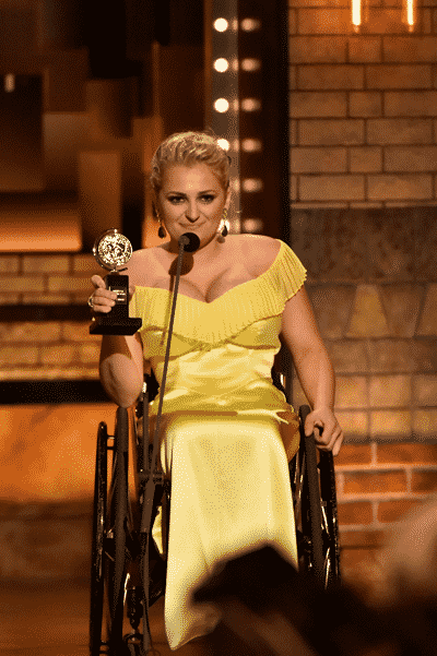 Ali Stroker winner Best Performance by an Actress in a Featured Role in a Musical for Rogers and Hammerstein's Oklahoma! at The 73rd Annual Tony Awards, broadcast live from Radio City Music Hall in New York, Sunday, June 9 on the CBS Television Network. JOHN P. FILO/CBS ©2019 CBS BROADCASTING INC.