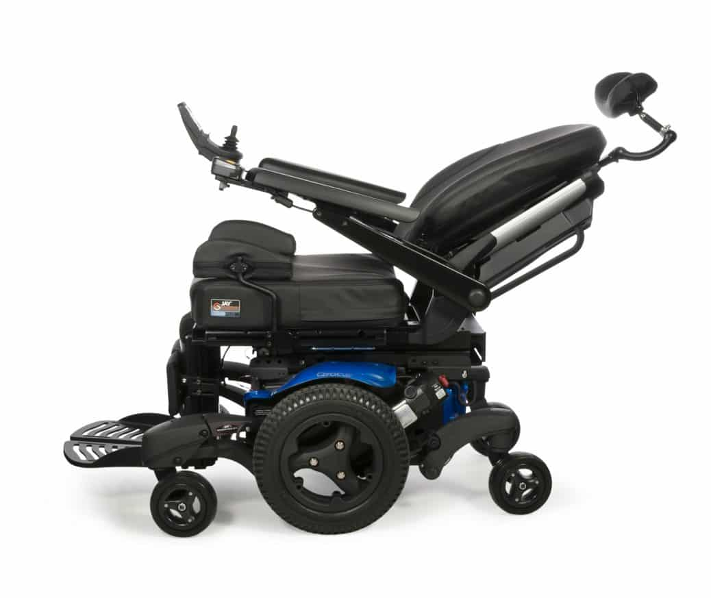 wheelchair pictured that has a tilt and recline feature