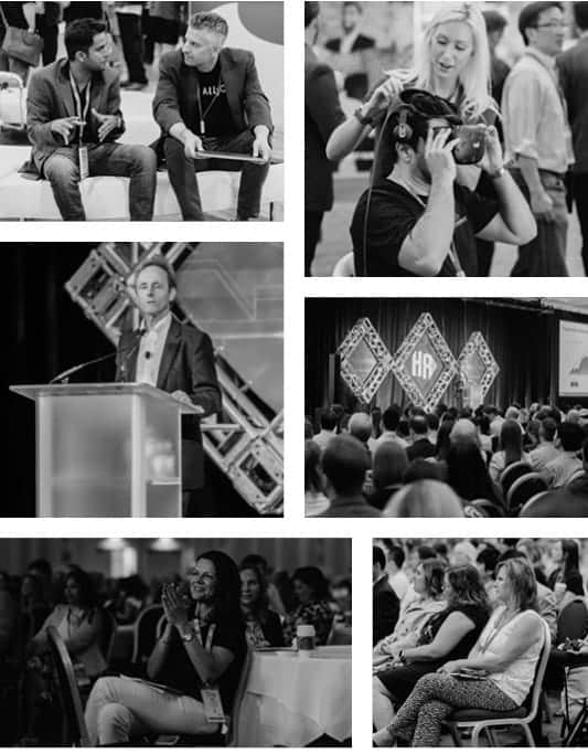 Collage image of people attending and speaking at the HR tech conference